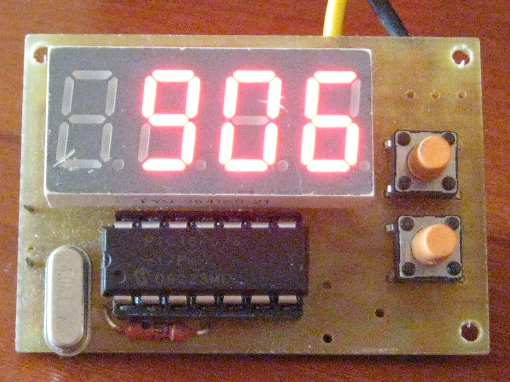 pic16f688 based voltmeter One microcontroller, the pic16f688, will measure voltage from an lm34, convert it to an adc value, and transmit some data the receiver will receive the data, and display a message on an lcd.